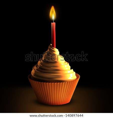 Cupcake with candle isolated on black background. High resolution 3d - stock photo