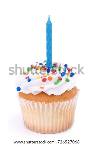 Cupcake with candle isolated on white