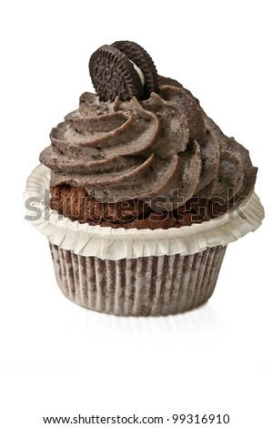 Cupcake with chocolate and biscuit