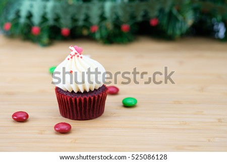 cupcake with christmas decoration, selective focus.