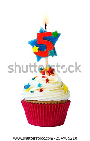 Cupcake with number five candle - stock photo