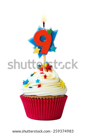 Cupcake with number nine candle