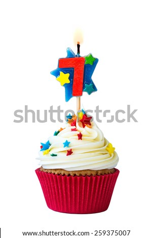 Cupcake with number six candle