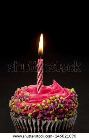 Cupcake with one candle.and room for your type. - stock photo