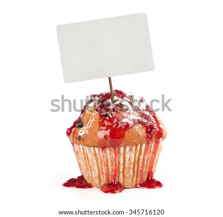 CupCake with price tag isolated on white - stock photo