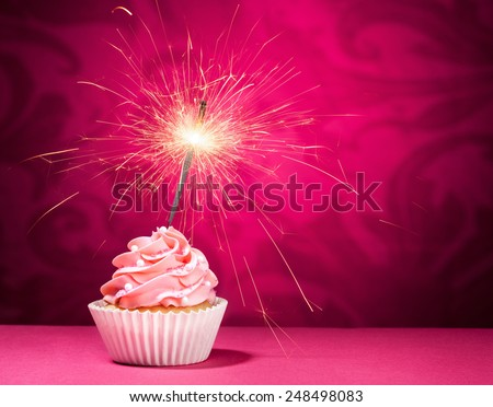 Cupcake with sprinkles and  a sparkler over a pink background.