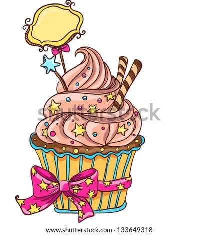 Cupcake with stars and bow - stock photo