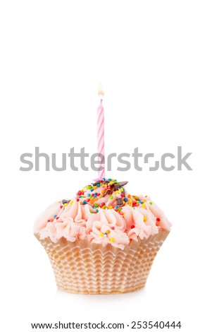 Cupcake with the burning festive candle on a white background - stock photo