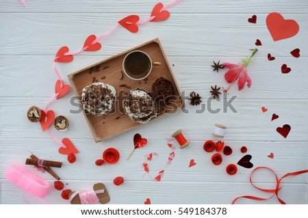 cupcakes and decorations on the day of lovers