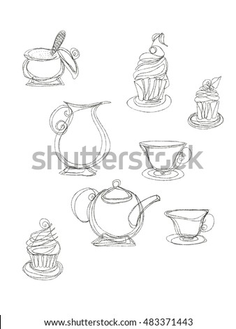 Cupcakes and tea-service drawn by pencil