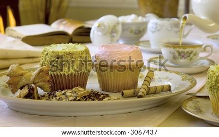Cupcakes at high tea - stock photo