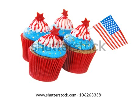 Cupcakes decorated for 4th of July celebration - stock photo