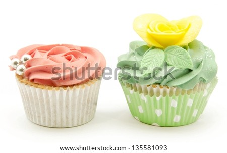 Cupcakes decorated with butter cream