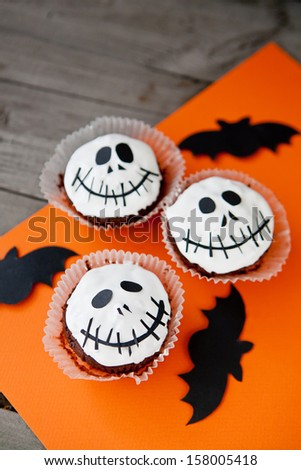 Cupcakes for halloween party - stock photo