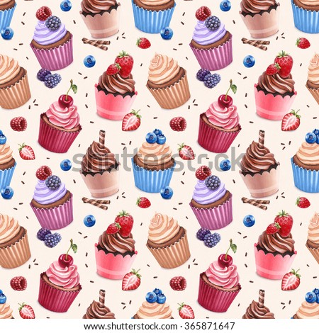 Cupcakes illustration. Seamless pattern