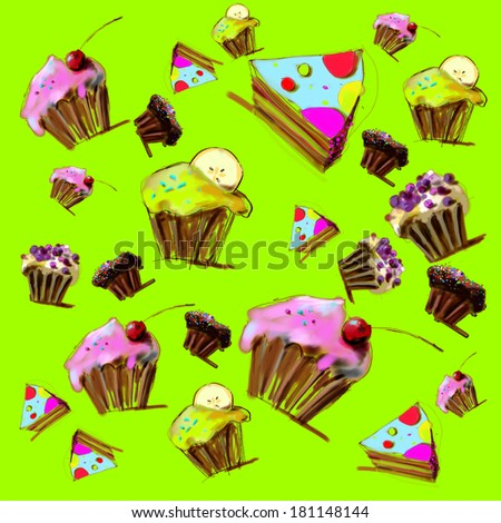 Cupcakes, muffins and pie on green background. Illustration. - stock photo