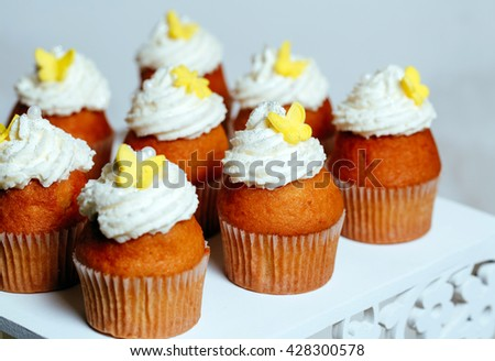 cupcakes on a stand. - stock photo