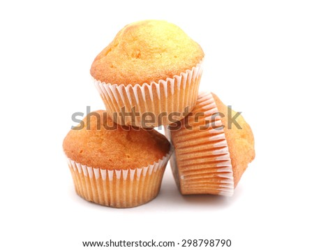 cupcakes on a white background - stock photo