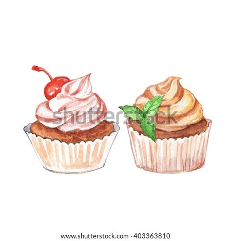 Cupcakes. Set 2. Watercolor dessert, isolated on white background