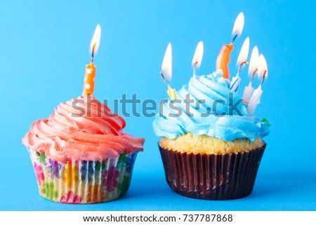 cupcakes with a candle ,birthday