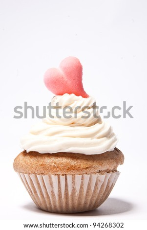 Cupcakes with a pink heart on top