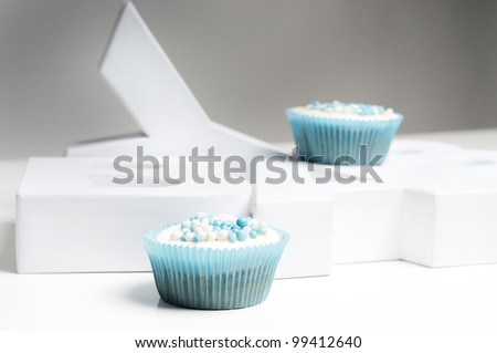 cupcakes with letters baby - stock photo