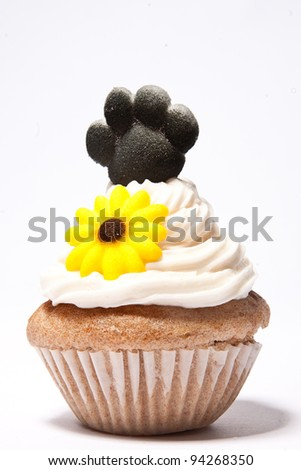 Cupcakes with Paw print of a dog and flower on top - stock photo