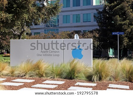 CUPERTINO, CA - MARCH 18: The Apple world headquarters located in Cupertino on March 18, 2014. Apple is a multinational corporation that produces consumer electronics, personal computers and software. - stock photo