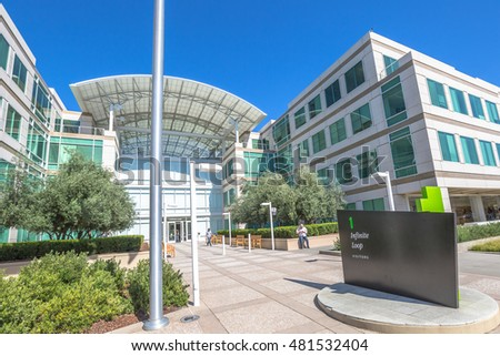Cupertino, CA, USA - August 15, 2016: the Apple world headquarters at One Infinite Loop in California. Apple is a multinational that produces consumer electronics, personal computers and software.