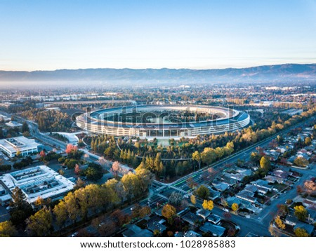 Cupertino, CA, USA - December 13, 2017: Aerial photo of Apple new campus building