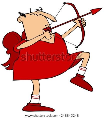 Cupid aiming his arrow - stock photo