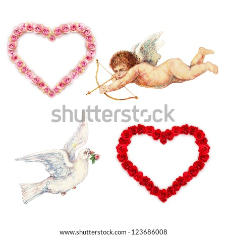 Cupid, dove and rose hearts