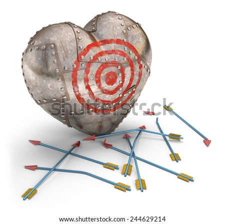 Cupid failed trying to hit the heart protected. Clipping path included. - stock photo