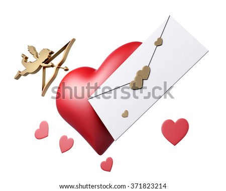 Cupid, heart and letter Valentine card on white background. 3d rendering. - stock photo