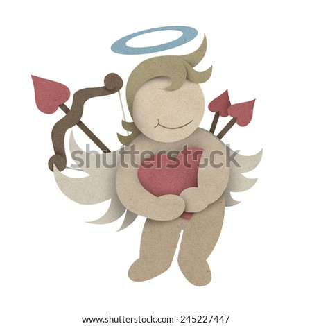 Cupid hug love heart made by recycled paper craft with clipping path