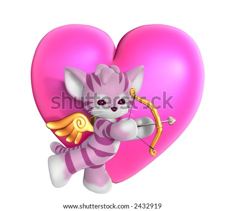 Cupid Kitty with Heart 2 - 3D render