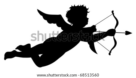 Cupid silhouette  (also available vector version)