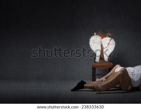 Cupid striptease and celebrate Valentine's day - stock photo
