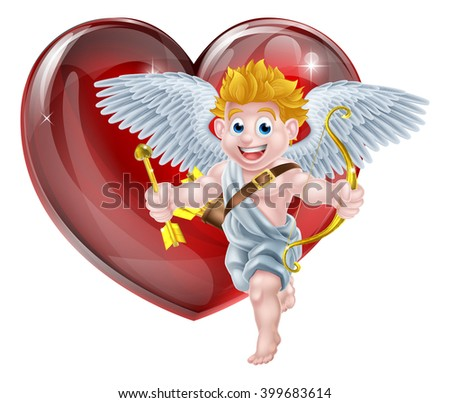 Cupid valentines day angel cartoon with his gold bow and heart arrow in front of a big red valentines heart