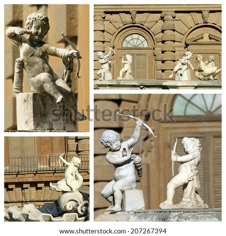 cupids sculptures - details from fountain in Boboli Gardens, Unesco world heritage site,Florence,  Italy, Europe  - stock photo