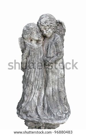 Cupids statue isolated on white background