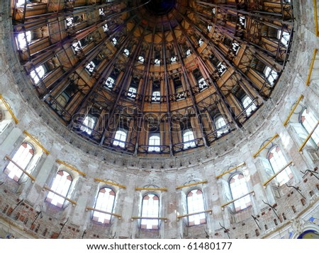 cupola inside New Jerusalem monastery - Russia - stock photo