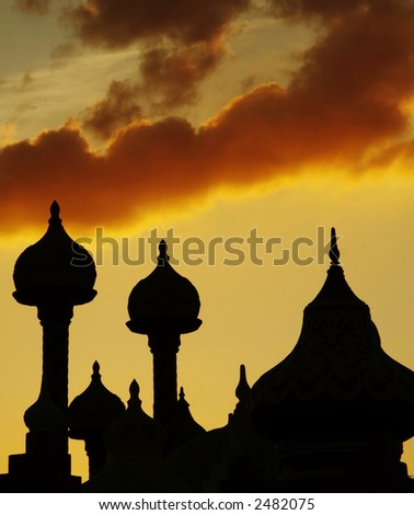 Cupola  silhouette on the sunset background