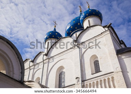 Cupolas and walls on the Russian church (Suzdal) - stock photo