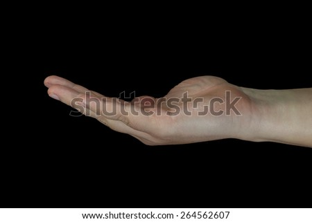 Cupped human hand isolated on black background.