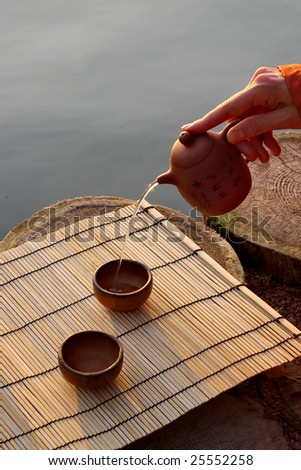 cups and teapot for tea ceremony