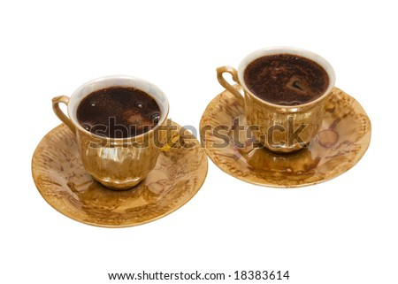 cups from coffee on a white background