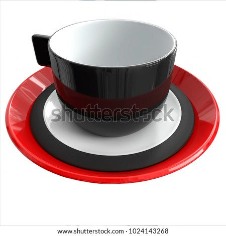 cups mug black porcelain faience red blue composition saucers white isolated background