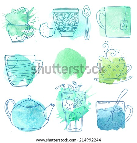 Cups of tea and coffee, drawn on abstract watercolor spots on a white background - stock photo