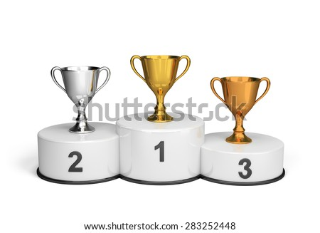 Cups on the podium waiting for the winners. 3d image. White background.